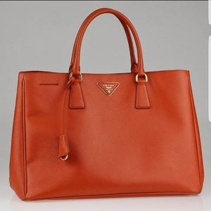 Prada Luxe Saffiano large tote in papaya NWT